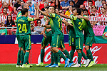 Players of SD Eibar celebrate goal during La Liga match between Atletico de Madrid and SD Eibar at Wanda Metropolitano Stadium in Madrid, Spain.September 01, 2019. (ALTERPHOTOS/A. Perez Meca)