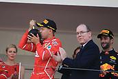 May 28th 2017, Monaco; F1 Grand Prix of Monaco Race Day;  Sebastian Vettel - Scuderia Ferrari wins the Monaco GP and celebrates on the podium with Price Albert of Monaco