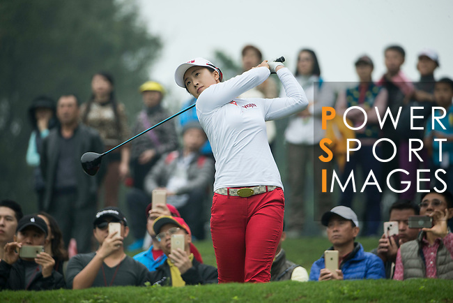 Bo Kyung Kim of South Korea tees off during Round 4 of the World Ladies Championship 2016 on 13 March 2016 at Mission Hills Olazabal Golf Course in Dongguan, China. Photo by Victor Fraile / Power Sport Images