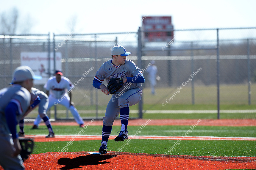 Janesville Craig's Mitchell Woelfle pitches in the first inning, as Janesville Craig tops Sun Prairie 6-2 in Wisconsin Big Eight Conference high school baseball on Friday, 4/19/19 at Sun Prairie High School