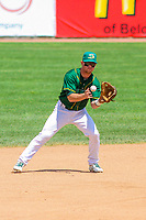 Beloit Snappers shortstop Trace Loehr (3) takes a throw during a Midwest League game against the Quad Cities River Bandits on June 18, 2017 at Pohlman Field in Beloit, Wisconsin.  Quad Cities defeated Beloit 5-3. (Brad Krause/Four Seam Images)