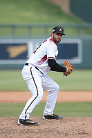 Salt River Rafters relief pitcher Kirby Bellow (22), of the Arizona Diamondbacks organization, prepares to deliver a pitch to the plate during an Arizona Fall League game against the Mesa Solar Sox on October 30, 2017 at Salt River Fields at Talking Stick in Scottsdale, Arizona. The Solar Sox defeated the Rafters 8-4. (Zachary Lucy/Four Seam Images)