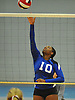 Shelter Island No. 10 Amira Lawrence attempts to spike during the Suffolk County varsity girls' volleyball Class D final against Pierson at Suffolk Community College Grant Campus on Monday, November 9, 2015. Shelter Island won 25-9, 25-4, 25-13.