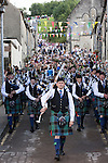 Langholm Common Riding 2016. Pipe band marches down Kirk Wynd into the town centre