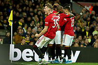 27th Ocotber 2019; Carrow Road, Norwich, Norfolk, England, English Premier League Football, Norwich versus Manchester United; Scott McTominay of Manchester Utd celebrates the goal by Anthony Martial for 0-3 in the 73rd minute - Strictly Editorial Use Only. No use with unauthorized audio, video, data, fixture lists, club/league logos or 'live' services. Online in-match use limited to 120 images, no video emulation. No use in betting, games or single club/league/player publications