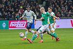 08.03.2019, Weser Stadion, Bremen, GER, 1.FBL, Werder Bremen vs FC Schalke 04, <br /> <br /> DFL REGULATIONS PROHIBIT ANY USE OF PHOTOGRAPHS AS IMAGE SEQUENCES AND/OR QUASI-VIDEO.<br /> <br />  im Bild<br /> <br /> Benjamin Stambouli (FC Schalke 04 #17)<br /> Davy Klaassen (Werder Bremen #30)<br /> Max Kruse (Werder Bremen #10)<br /> <br /> Foto &copy; nordphoto / Kokenge