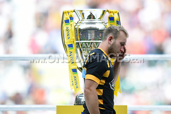 Dan Robson of Wasps walks past the Aviva Premiership trophy dejected. Aviva Premiership Final, between Wasps and Exeter Chiefs on May 27, 2017 at Twickenham Stadium in London, England. Photo by: Patrick Khachfe / JMP