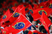 28th December 2019; Thomond Park, Limerick, Munster, Ireland; Guinness Pro 14 Rugby, Munster versus Leinster; The Munster supporters waving their teams flag - Editorial Use