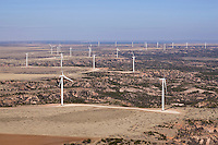 Wind turbines at the edge of canyon;  aerial view; Texas, high plains