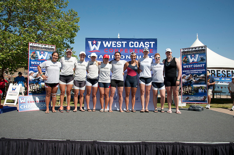 May 12, 2012; Gold River, CA, USA; (L-R) WCC All-Conference award winners Santa Clara Broncos athlete Briana Wise, San Diego Toreros athlete Gina Schneider, San Diego Toreros athlete Michelle Geesman, San Diego Toreros athlete Hannah Patrick, Saint Mary's Gaels athlete Haley Adams, Portland Pilots athlete Sarah Ryan, Loyola Marymount Lions athlete Shannon Craig, Gonzaga Bulldogs athlete Elise Perkins, Gonzaga Bulldogs athlete Paula Welly, and Creighton Bluejays athlete Christine Koehler during the WCC Rowing Championships at Lake Natoma.