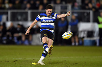 Freddie Burns of Bath Rugby kicks for the posts. Aviva Premiership match, between Bath Rugby and Exeter Chiefs on March 23, 2018 at the Recreation Ground in Bath, England. Photo by: Patrick Khachfe / Onside Images
