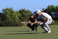 Sebastian Heisele (GER) and Ross McGowan (ENG) on the 13th green during Round 3 of the Challenge Tour Grand Final 2019 at Club de Golf Alcanada, Port d'Alcúdia, Mallorca, Spain on Saturday 9th November 2019.<br /> Picture:  Thos Caffrey / Golffile<br /> <br /> All photo usage must carry mandatory copyright credit (© Golffile | Thos Caffrey)
