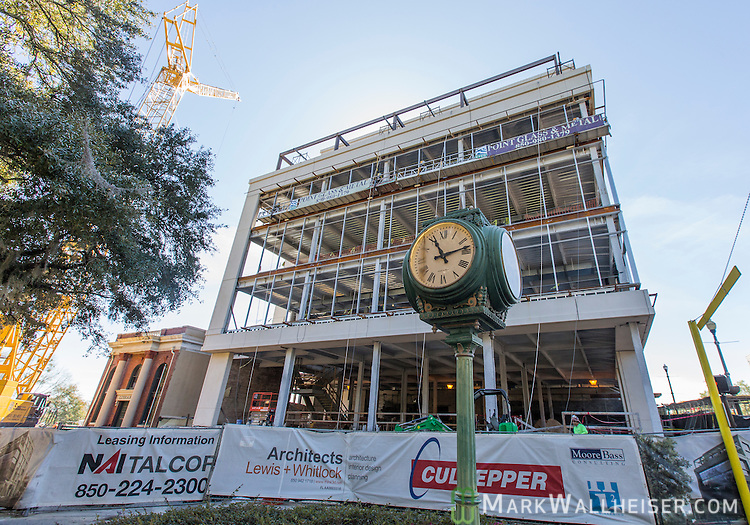 The Ballard Building construction at 201 East Park Avenue at the corner of Monroe St and Park Ave in Tallahassee, Florida.