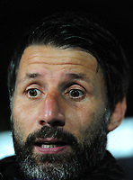 Lincoln City manager Danny Cowley during the pre-match warm-up<br /> <br /> Photographer Andrew Vaughan/CameraSport<br /> <br /> The EFL Checkatrade Trophy Northern Group H - Scunthorpe United v Lincoln City - Tuesday 9th October 2018 - Glanford Park - Scunthorpe<br />  <br /> World Copyright &copy; 2018 CameraSport. All rights reserved. 43 Linden Ave. Countesthorpe. Leicester. England. LE8 5PG - Tel: +44 (0) 116 277 4147 - admin@camerasport.com - www.camerasport.com