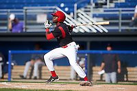 Batavia Muckdogs shortstop Anfernee Seymour (3) at bat during the first game of a doubleheader against the Mahoning Valley Scrappers on July 2, 2015 at Dwyer Stadium in Batavia, New York.  Batavia defeated Mahoning Valley 4-1.  (Mike Janes/Four Seam Images)