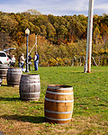 Barrels border the parking spaces, protecting the spacious lawn at Horton Vineyards.