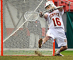 March 16, 2013: University of Denver's goalie, Jamie Faus (16), in action against Notre Dame during the Whitman's Sampler Mile High Classic, Sports Authority Field at Mile High, Denver, Colorado.  Notre Dame defeats Denver 13-12 in overtime.
