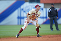 Johnny Adams (8) of the Boston College Eagles on defense against the North Carolina Tar Heels in Game Five of the 2017 ACC Baseball Championship at Louisville Slugger Field on May 25, 2017 in Louisville, Kentucky. The Tar Heels defeated the Eagles 10-0 in a game called after 7 innings by the Mercy Rule. (Brian Westerholt/Four Seam Images)