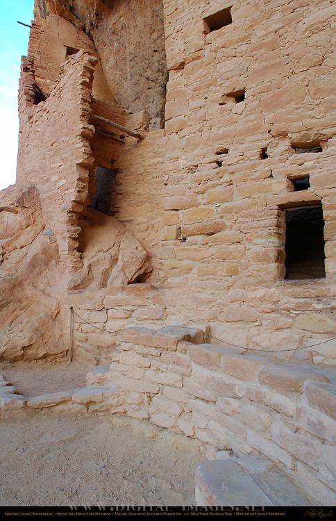 Left Side (North) Tower Detail, Spruce Tree House Cliff Dwelling, Anasazi Hisatsinom Ancestral Pueblo Site, Chapin Mesa, Mesa Verde National Park, Colorado