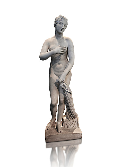 "1st Century BC statue of Aphordite by Menophantos. The casket of the sculpture is inscribed "" of the Aphrodite which is situated in the Troad (Troy) Menophantos made it"". This sculpture depicts Aphrodite in the typical pose known as the Modest Aphrodite style and is a copy of a lost 4th century BC Aphrodite of Cnidos sculpture by Athenian sculpture Praxiteles. Capitoline Museums, Rome"