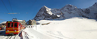The Jungfrau train at the foot of the Eiger mountain at Kleiner Scheidegg, Swiss Alps