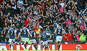 June 10th 2017, Hampden park, Glasgow, Scotland; World Cup 2018 Qualifying football, Scotland versus England; Leigh Griffiths celebrates his goal in front of the jubilant Scotland fans as he equalises in the 87th minute