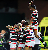 Freddie Burns of Leicester Tigers celebrates his second half try with team-mates. European Rugby Champions Cup match, between Leicester Tigers and Racing 92 on October 23, 2016 at Welford Road in Leicester, England. Photo by: Patrick Khachfe / JMP