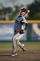 Lake Elsinore Storm starting pitcher Michel Baez (26) delivers a pitch to the plate during a California League game against the Modesto Nuts at John Thurman Field on May 11, 2018 in Modesto, California. Modesto defeated Lake Elsinore 3-1. (Zachary Lucy/Four Seam Images)
