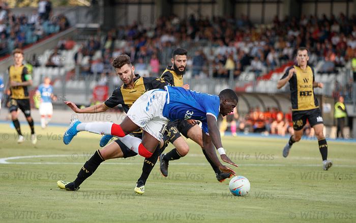 01.08.2019 Progres Niederkorn v Rangers: Sheyi Ojo tripped in the box by Tim Hall