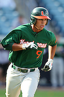 "Miami Hurricanes Harold Martinez #9 during a game vs. the University of South Florida Bulls in the ""Florida Four"" at George M. Steinbrenner Field in Tampa, Florida;  March 1, 2011.  USF defeated Miami 4-2.  Photo By Mike Janes/Four Seam Images"