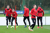 Gareth Bale (left) of Wales in action during the Wales Training Session at The Vale Resort, Hensol, Wales, UK. Monday 19 November 2018
