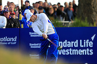 Martin Kaymer (EUR) on the 2nd tee during the Saturday Fourball Matches of the Ryder Cup at Gleneagles Golf Club on Saturday 27th September 2014.<br /> Picture:  Thos Caffrey / www.golffile.ie