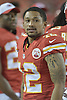 Aug 21, 2015; Kansas City, MO, USA; Kansas City Chiefs wide receiver Albert Wilson (12) watches play on the sidelines during the second half against the Seattle Seahawks at Arrowhead Stadium. The Chiefs won 14-13. Mandatory Credit: Denny Medley-USA TODAY Sports