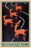 BNPS.co.uk (01202 558833)<br /> Pic: Onslows/BNPS<br /> <br /> Stylish art deco style poster for Richmond Park.<br /> <br /> A fascinating treasure trove of old London posters are expected to sell at auction for £20,000 after being discovered in a garage.<br /> <br /> They were produced circa 1920 by the Underground Electric Railway Company to promote the capital's underground, tram and bus networks.<br /> <br /> There is also a charming selection of 'London Characters' posters showing different walks of life including a news boy, a zookeeper, a flower woman and a Covent Garden porter.<br /> <br /> The collection of 35 posters were found rolled up in a garage lock up in Kensington, west London, while it was being cleared out.<br /> <br /> The vendor, a lady in her 80s, inherited them many years ago from her late aunt who was an artist in the 1920s and had her own studio.