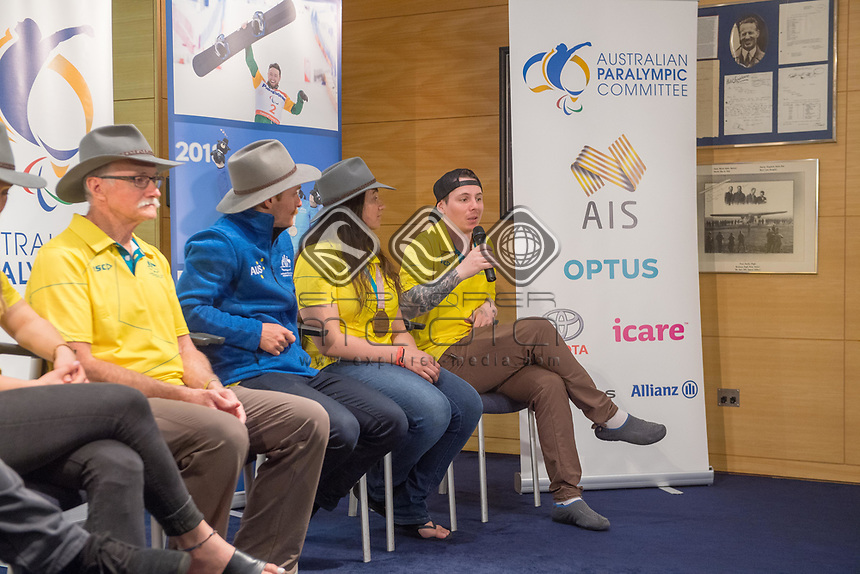 Welcome home / Press Conference / Christian Geiger<br /> PyeongChang 2018 Paralympic Games<br /> Australian Paralympic Committee<br /> Sydney International Airport<br /> PyeongChang South Korea<br /> Tuesday March 20th 2018<br /> © Sport the library / Jeff Crow