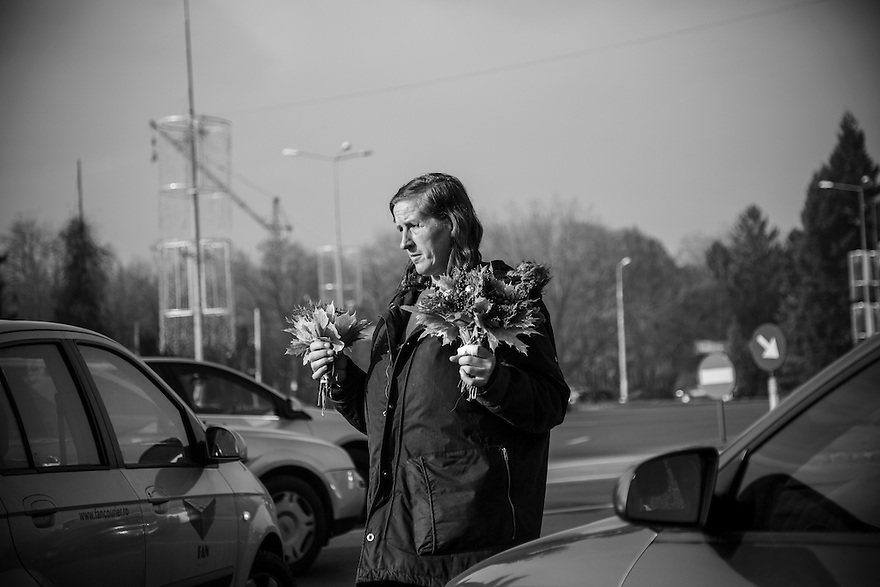 A woman sells flowers at a Bucharest intersection. 24 years after the fall of Communism the problems of widespread poverty, unemployment and homelessness have not been solved.