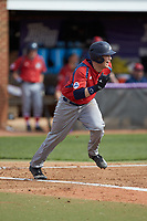 Alex Burman (32) of the NJIT Highlanders hustles down the first base line against the High Point Panthers at Williard Stadium on February 18, 2017 in High Point, North Carolina. The Panthers defeated the Highlanders 11-0 in game one of a double-header. (Brian Westerholt/Four Seam Images)