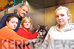 Vicki Kennelly from Shanakill and her dog Neeko who was attacked by another dog. Pictured at Hurley's Veterinary Hospital on Monday with her sister Amy, mother Eileen Flaherty and Richard Hurley Veterinary Surgeon.