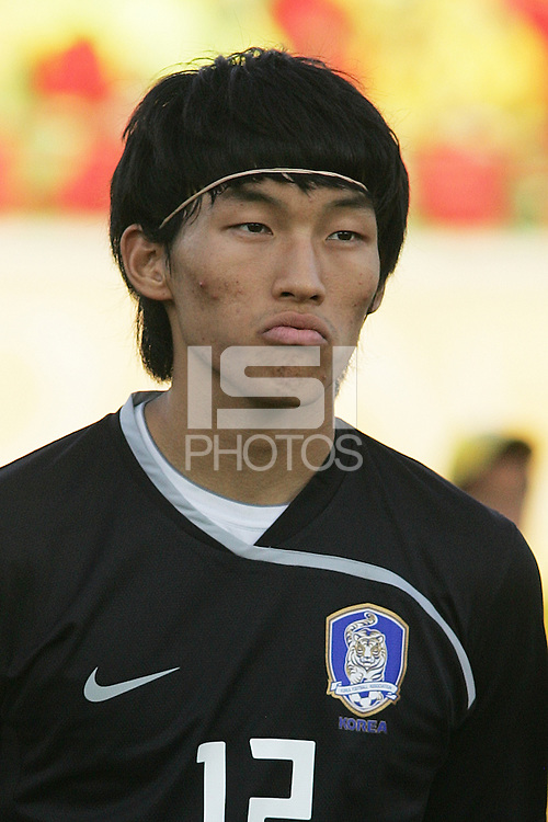 South Korea's Seung Gyu Kim (12) stands on the field before the FIFA Under 20 World Cup Quarter-final match between Ghana and South Korea at the Mubarak Stadium  in Suez, Egypt, on October 09, 2009.