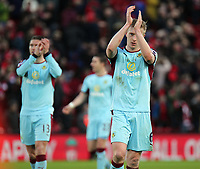 Burnley's Ben Mee applauds the fans at the final whistle<br /> <br /> Photographer Rich Linley/CameraSport<br /> <br /> The Premier League - Liverpool v Burnley - Sunday 12 March 2017 - Anfield - Liverpool<br /> <br /> World Copyright &copy; 2017 CameraSport. All rights reserved. 43 Linden Ave. Countesthorpe. Leicester. England. LE8 5PG - Tel: +44 (0) 116 277 4147 - admin@camerasport.com - www.camerasport.com