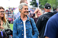 August 8, 2017: Galynn Patricia Brady mother of Patriots quarterback Tom Brady greets friends and family on the practice fields at the New England Patriots training camp held at Gillette Stadium, in Foxborough, Massachusetts. Eric Canha/CSM