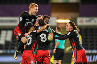 Coventry celebrate after winning on penalties during the EFL Checkatrade Trophy Quarterfinal Match between Swansea City U21 and Coventry City at the Liberty Stadium, Swansea on January 24, 2017