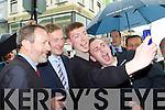 Killarney students Adrian Cronin and Daniel O'Sullivan take a selfie with Taoiseach Enda kenny and Sean Kelly MEP on Friday