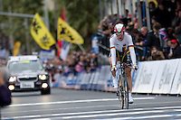 GEELONG, 30 SEPTEMBER - Tony MARTIN (GER) crossing the finish line at the 2010 UCI Road World Championships time trial event in Geelong, Victoria, Australia. (Photo Sydney Low / syd-low.com)