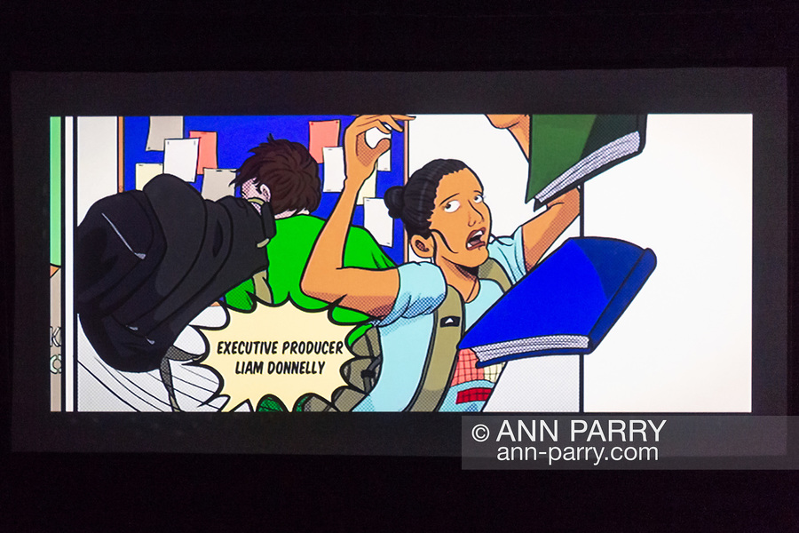 Bellmore, New York, USA. July 18, 2018. At LIIFE 2018 screening, the Long Island International Film Expo, the end credits for film The Adventures of Penny Patterson use illustrations by artist Liam Donnelly, the short film's Executive Producer. The comedy, sci-fi is about a high school student facing obstacles to winning science fair when her boyfriend becomes a superhero. In this illustration, Penny's school books are knocked out of her arms as rival Calvin barges by.Movie was nominated at LIIFE for Best Student Film.
