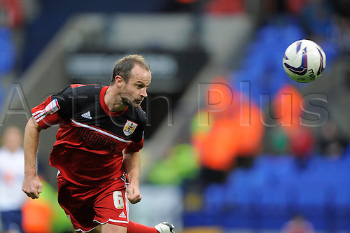 20.10.2012 Bolton, England.Louis Carey of Bristol City   in action during the Championship game between Bolton Wanderers and Bristol City from the Reebok Stadium.