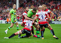 Northampton Saints' George North is tackled by Gloucester Rugby's Owen Williams and Lewis Ludlow <br /> <br /> Photographer Ashley Western/CameraSport<br /> <br /> Aviva Premiership - Gloucester v Northampton Saints - Saturday 7th October 2017 - Kingsholm Stadium - Gloucester<br /> <br /> World Copyright &copy; 2017 CameraSport. All rights reserved. 43 Linden Ave. Countesthorpe. Leicester. England. LE8 5PG - Tel: +44 (0) 116 277 4147 - admin@camerasport.com - www.camerasport.com
