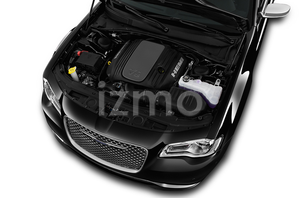 Car Stock 2017 Chrysler 300C Platinum 4 Door Sedan Engine  high angle detail view