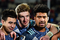 25th July 2020, Christchurch, New Zealand;  Jackson Garden-Bachop, Jordie Barrett and Ardie Savea of the Hurricanes celebrate winning the Super Rugby Aotearoa, Crusaders versus Hurricanes at Orangetheory stadium, Christchurch