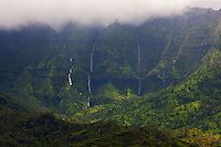 Waterfalls pour down Namolokama, which stands above Hanalei Valley on Kauai's north shore.